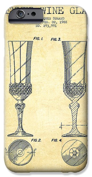 Wine Illustrations iPhone Cases - Stemmed Wine Glass Patent from 1988 - Vintage iPhone Case by Aged Pixel