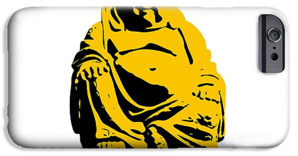 Pixelchimp Digital iPhone Cases - Stencil Buddha Yellow iPhone Case by Pixel Chimp