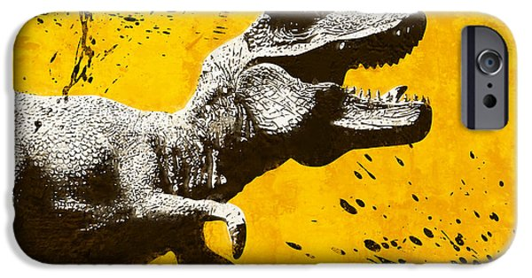 Dinosaur iPhone Cases - Stencil TREX iPhone Case by Pixel Chimp