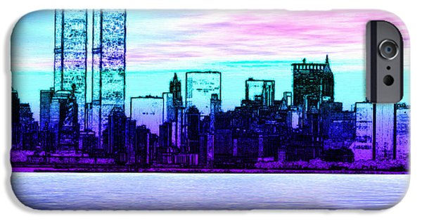 Twin Towers Nyc Digital iPhone Cases - Step Back in Time Manhattan iPhone Case by Daniel Janda