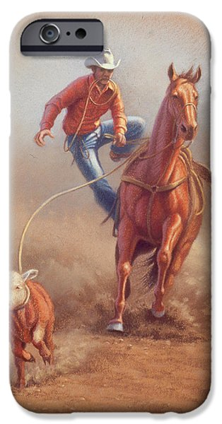 Cowboy iPhone Cases - Steppin down at Red Lodge iPhone Case by Paul Krapf