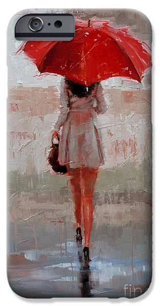 Rainy Day iPhone Cases - Stepping Out iPhone Case by Laura Lee Zanghetti