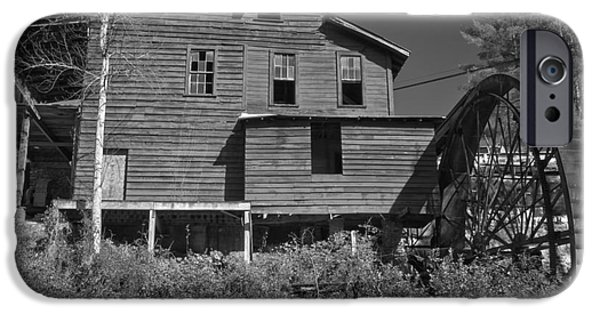 Grist Mill iPhone Cases - Stepps Grist Mill Black And White iPhone Case by Adam Jewell