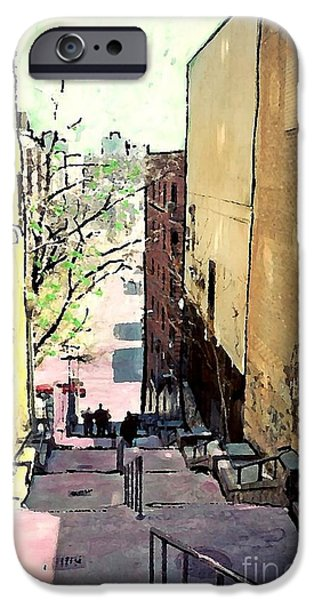 Recently Sold -  - Buildings Mixed Media iPhone Cases - Steps at 187 Street iPhone Case by Sarah Loft