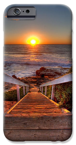 Beach Art iPhone Cases - Steps to the Sun  iPhone Case by Peter Tellone