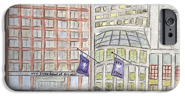 Business Paintings iPhone Cases - NYU Stern School of Business iPhone Case by Lynn Lieberman
