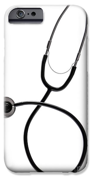 Diagnosis iPhone Cases - Stethoscope iPhone Case by Olivier Le Queinec