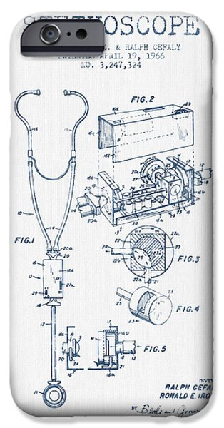 Device iPhone Cases - Stethoscope Patent Drawing From 1966 - Blue Ink iPhone Case by Aged Pixel