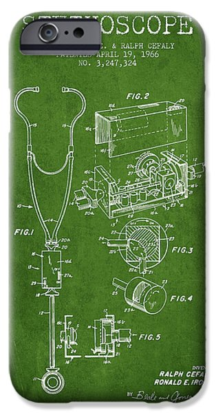 Device iPhone Cases - Stethoscope Patent Drawing From 1966- Green iPhone Case by Aged Pixel
