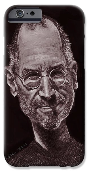 Caricature Digital Art iPhone Cases - Steve Jobs iPhone Case by Andre Koekemoer