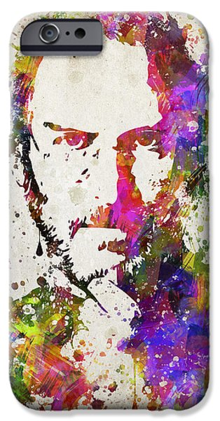 Ipad Art iPhone Cases - Steve Jobs in Color iPhone Case by Aged Pixel