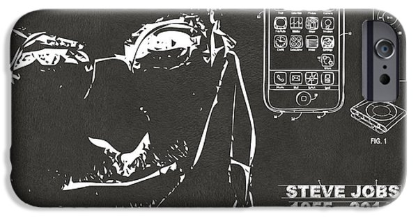 Innovative iPhone Cases - Steve Jobs iPhone Patent Artwork Gray iPhone Case by Nikki Marie Smith