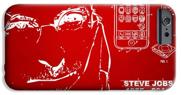 Innovative iPhone Cases - Steve Jobs iPhone Patent Artwork Red iPhone Case by Nikki Marie Smith