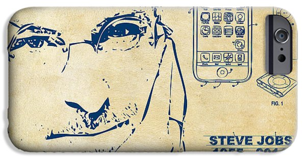 Innovative iPhone Cases - Steve Jobs iPhone Patent Artwork Vintage iPhone Case by Nikki Marie Smith