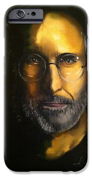 Chip Drawings iPhone Cases - Steve Jobs iPhone Case by Larry Silver