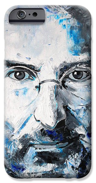 Inspired Paintings iPhone Cases - Steve Jobs iPhone Case by Richard Day