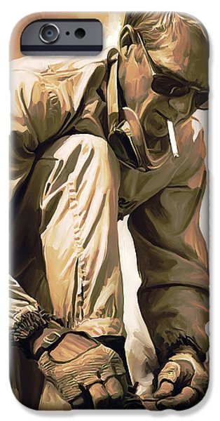 Celebrities Portrait iPhone Cases - Steve McQueen Artwork iPhone Case by Sheraz A