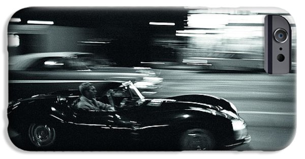 Steve Mcqueen iPhone Cases - Steve McQueen Jaguar XK-SS on Sunset Blvd iPhone Case by Nomad Art And  Design