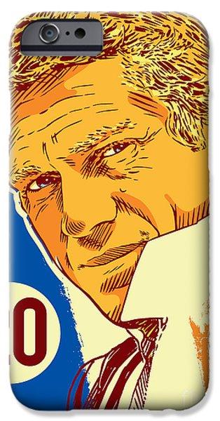 Racing iPhone Cases - Steve McQueen Pop Art - 20 iPhone Case by Jim Zahniser