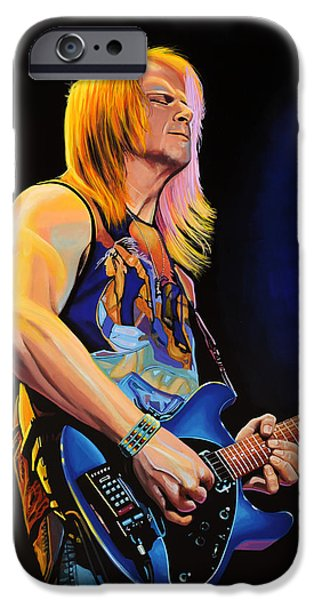 Singer-songwriter iPhone Cases - Steve Morse iPhone Case by Paul Meijering