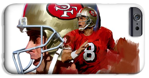 Fame Drawings iPhone Cases - Steve Young   iPhone Case by Iconic Images Art Gallery David Pucciarelli