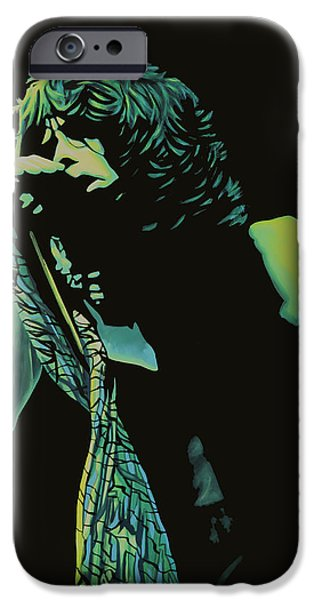 Steven Tyler Paintings iPhone Cases - Steven Tyler 2 iPhone Case by Paul  Meijering