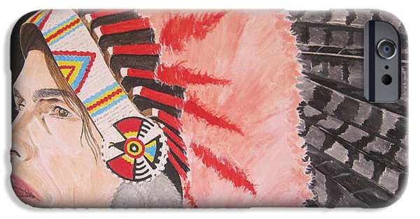 Steven Tyler Paintings iPhone Cases - Steven Tyler As A Chrerokee Indian iPhone Case by Jeepee Aero