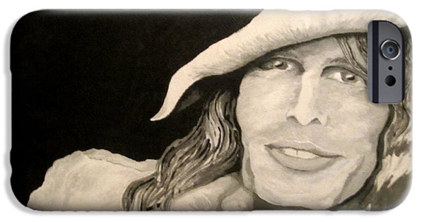 Steven Tyler Paintings iPhone Cases - Steven Tyler Portrait iPhone Case by Kathleen Allen