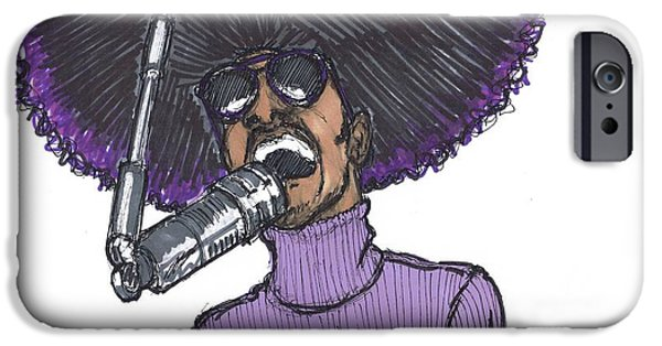 Boss Paintings iPhone Cases - Stevie Afro iPhone Case by SKIP Smith