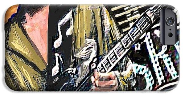 Austin Artist Digital Art iPhone Cases - Stevie Ray Vaghn iPhone Case by Larry E Lamb