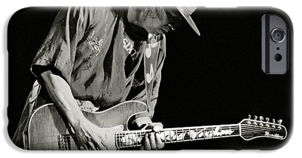 Band Photo iPhone Cases - Stevie Ray Vaughan 1984 iPhone Case by Chuck Spang