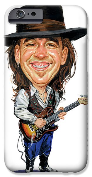 Rays Paintings iPhone Cases - Stevie Ray Vaughan iPhone Case by Art