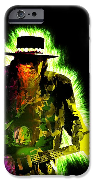 Greatest Electric Guitarist iPhone Cases - Stevie Ray Vaughan iPhone Case by Michael Lee