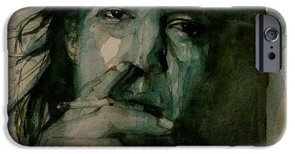 Rays Paintings iPhone Cases - Stevie Ray Vaughan iPhone Case by Paul Lovering
