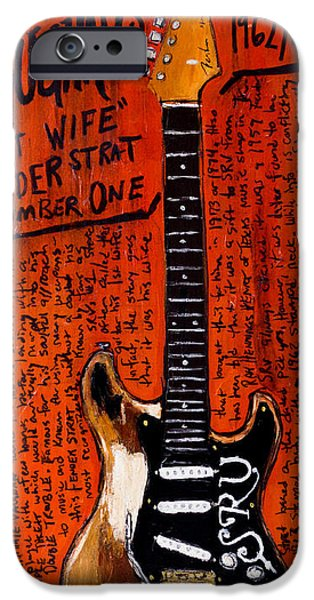 Fender Strat Paintings iPhone Cases - Stevie Ray Vaughn Fender Stratocaster iPhone Case by Karl Haglund