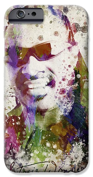 Autographed iPhone Cases - Stevie Wonder Portrait iPhone Case by Aged Pixel