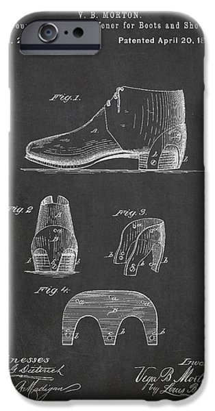 High Heeled iPhone Cases - Stiffner for Boots and shoes Patent Drawing From 1880 iPhone Case by Aged Pixel