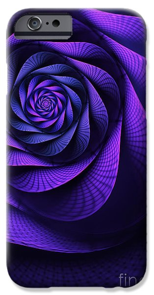 Fractals Fractal Digital Art iPhone Cases - Stile Floreal iPhone Case by John Edwards