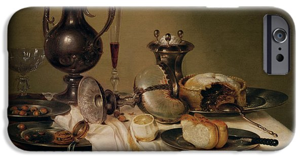 Table Wine iPhone Cases - Still Life, 1642 Oil On Canvas iPhone Case by Willem Claesz. Heda