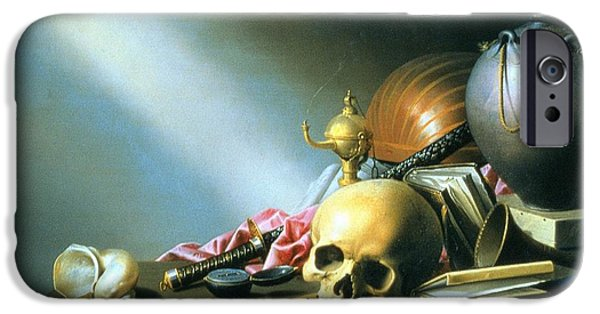 Allegory iPhone Cases - Still Life An Allegory of the Vanities of Human Life iPhone Case by Harmen van Steenwyck