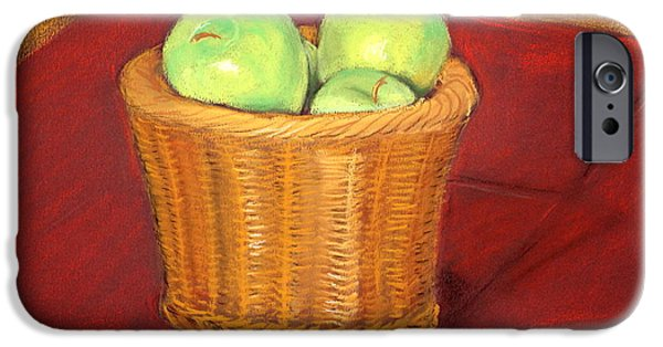 Basket Pastels iPhone Cases - Still Life - Apples in Basket iPhone Case by John Ruggiero