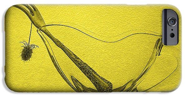 Modern Abstract iPhone Cases - Still Life Drawing in Yellow iPhone Case by Frida  Kaas