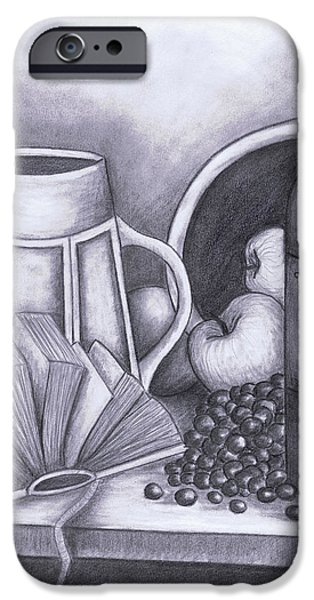 Table Wine Drawings iPhone Cases - Still Life Drawing iPhone Case by Kamil Swiatek