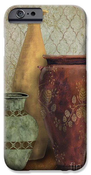 Pottery Pitcher iPhone Cases - Still Life-G iPhone Case by Jean Plout