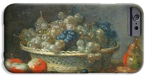Pears iPhone Cases - Still Life Grape Basket With Three Apples, A Pear And Two Marzipans, 1764 Oil On Canvas iPhone Case by Jean-Baptiste Simeon Chardin