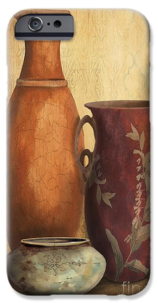 Pottery Pitcher iPhone Cases - Still Life-H iPhone Case by Jean Plout