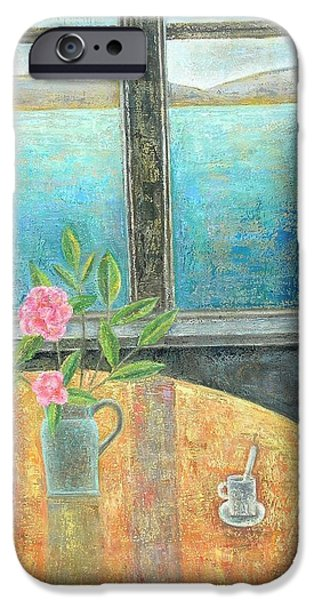 Interior Scene iPhone Cases - Still Life In Window With Camellia, 2012, Oil On Canvas iPhone Case by Ruth Addinall