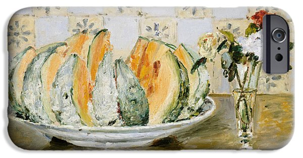 Pierre Auguste Renoir iPhone Cases - Still Life of a Melon and a Vase of Flowers iPhone Case by Pierre Auguste Renoir