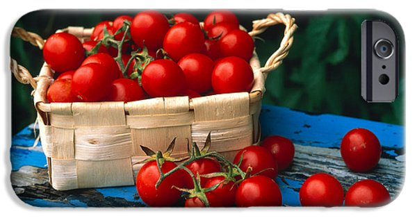 Basket iPhone Cases - Still Life Of Cherry Tomatoes iPhone Case by Panoramic Images