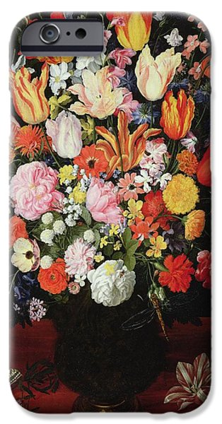 Mount Rose iPhone Cases - Still Life Of Flowers, 1610s Oil On Panel iPhone Case by Kasper or Gaspar van den Hoecke
